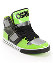 Osiris Kids NYC 83 Black, Gun metal, & Lime Skate Shoe