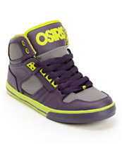 Osiris Kids NYC 83 Purple, Lime, & Charcoal Skate Shoe