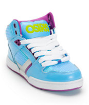 Osiris Kids NYC 83 Slim Blue, Silver, & Lime Shoe
