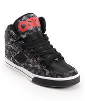Osiris NYC 83 Vulc Black, Digital Camo,  & Red Skate Shoe