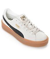 PUMA Suede Platform Core White & Black Shoes (Womens)