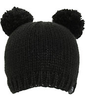 PWDR Room Black Double Pom Beanie