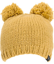 PWDR Room Tan Double Pom Beanie