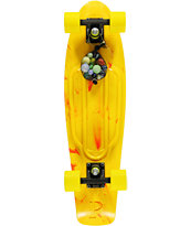 Penny Yellow & Red Marble Nickel Cruiser Complete Skateboard