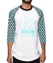Pink Dolphin Cross Baseball T-Shirt