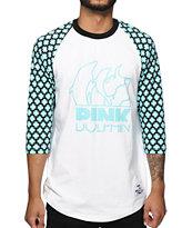 Pink Dolphin Cross Baseball T-Shirt