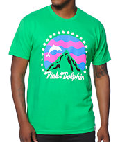 Pink Dolphin Leaping Mountains Tee Shirt