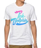 Pink Dolphin Ocean Script T-Shirt