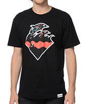 Pink Dolphin Splatter Waves T-Shirt