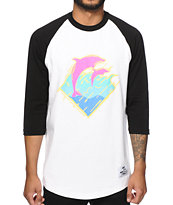 Pink Dolphin Static Waves Baseball T-Shirt