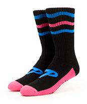 Pink Dolphin Stripe Crew Socks