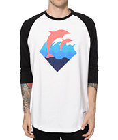 Pink Dolphin Waves Baseball T-Shirt