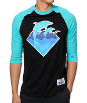 Pink Dolphin Waves Baseball Tee Shirt