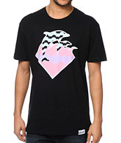 Pink Dolphin Waves Black T-Shirt