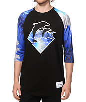 Pink Dolphin Waves Cold Tie Dye Baseball T-Shirt