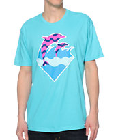 Pink Dolphin Waves Turquoise T-Shirt