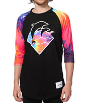 Pink Dolphin Waves Warm Tie Dye Baseball T-Shirt