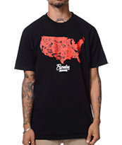Popular Demand American Rose Black Tee Shirt