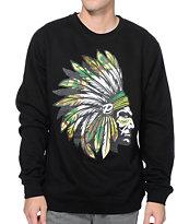 Popular Demand Camo Chief Black Crew Neck Sweatshirt
