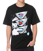 Popular Demand Candy Lips Black Tee Shirt