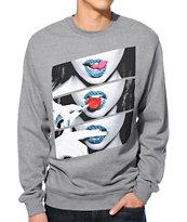 Popular Demand Candy Lips Heather Grey Crew Neck Sweatshirt