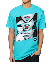 Popular Demand Candy Lips Teal Tee Shirt