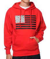 Popular Demand Cheetah Flag Red Pullover Hoodie