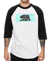 Primitive Bear White & Black Raglan Baseball Tee Shirt