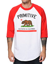 Primitive Cultivated White & Red Raglan Baseball Tee Shirt