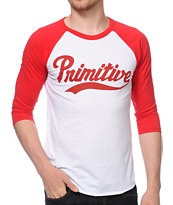 Primitive Dugout Red and White Baseball Tee Shirt