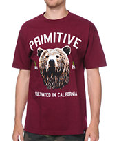 Primitive Golden Bear Burgundy Tee Shirt