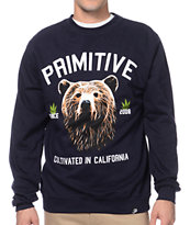 Primitive Golden Bear Navy Blue Crew Neck Sweatshirt