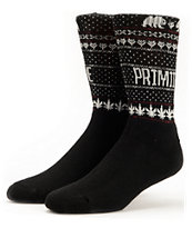 Primitive Jolly Bear Black & White Weed Print Socks
