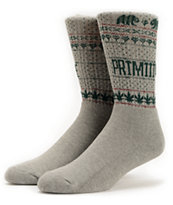 Primitive Jolly Bear Grey & Green Weed Print Socks