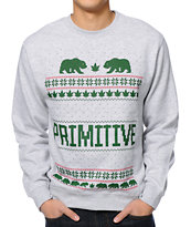 Primitive Jolly Bear Heather Grey Crew Neck Sweatshirt