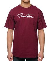 Primitive Nuevo Script Burgundy T-Shirt