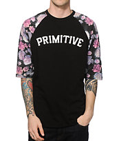 Primitive Rose Noir Floral Baseball T-Shirt