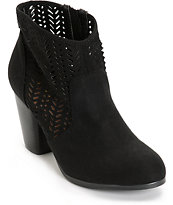Qupid Perforated Black Suede Boots