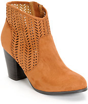 Qupid Perforated Rust Suede Boots