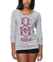 REBEL8  8 Logo Heather Grey Raglan Top