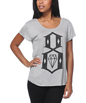 REBEL8 8 Logo Heather Grey Boyfriend Fit Tee Shirt