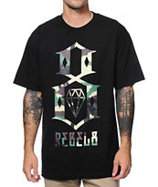 REBEL8 Camo Logo Black Tee Shirt