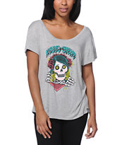 REBEL8 Girls Dios Skull Heather Grey Tee Shirt