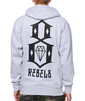 REBEL8 Logo Heather Grey Pullover Hoodie
