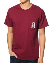 REBEL8 Logo Maroon Pocket Tee Shirt