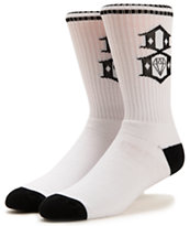 REBEL8 Logo White Crew Socks