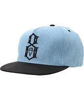 REBEL8 R8 Logo Blue Denim Snapback Hat