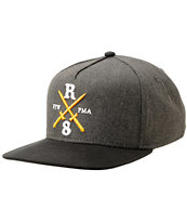 REBEL8 Raising Hell Charcoal & Black Snapback Hat