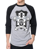 REBEL8 Shield Crest Grey & Black Baseball Tee Shirt