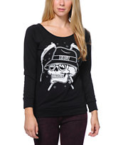 REBEL8 Skull & Shades Black Raglan Top